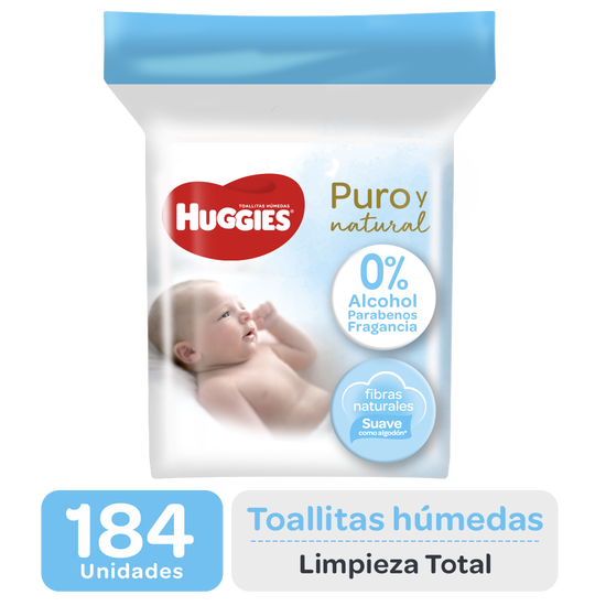 Toallitas Húmedas Huggies Puro y Natural, 184uds