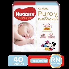 Pañales Huggies Natural Care Recién Nacido, 40uds