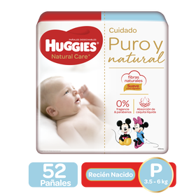 Pañales Huggies Natural Care P, 52uds
