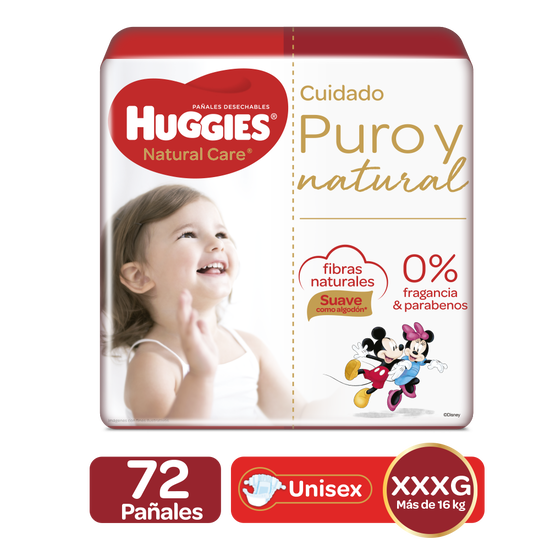Pañales Huggies Natural Care XXXG, 72uds