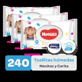Combo Toallitas Húmedas Manitos y Carita, 240uds
