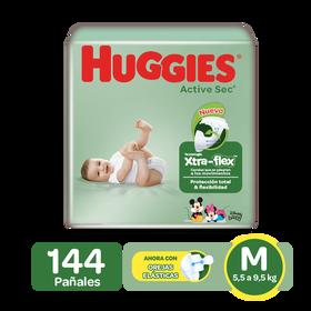 Pañales Huggies Active Sec Xtra-Flex M, 144uds
