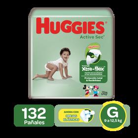 Pañales Huggies Active Sec Xtra-Flex G, 132uds