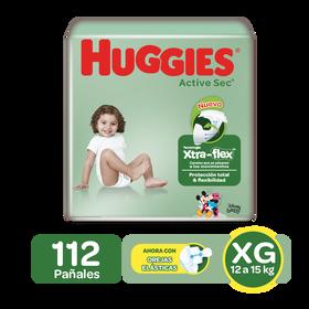 Pañales Huggies Active Sec Xtra-Flex XG, 112uds
