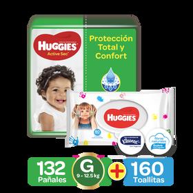 Combo Toallitas Húmedas Manitos y Carita, 160uds y Pañal Huggies Active Sec Talla G, 132 uds
